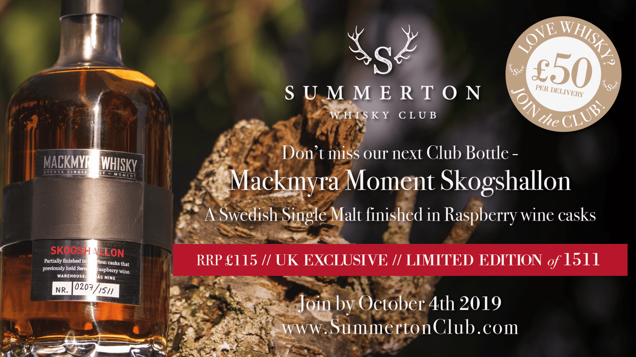 October 2019 – Mackmyra Moment Skogshallon, Summerton Whisky Club